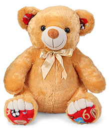 Liviya Teddy Bear Soft Toy With Bow Brown - Height 54 Cm