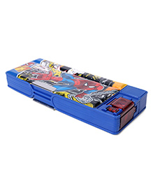 Marvel Spiderman Pencil Box With White Board & Marker - Blue