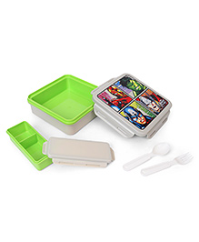 Marvel Avengers Lunch Box With Spoon & Fork - White Green