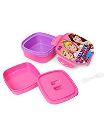Disney Princess Square Shape Lunch Box - Purple Pink