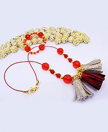 Little Tresses Tassel Pendant And Bracelet Set - Red & Gold