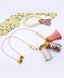Little Tresses Tassel Pendant And Bracelet Set - Peach & Rose Gold