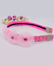 Little Tresses Partywear Flower Hairband - Pink & Golden