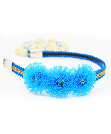 Little Tresses Partywear Flower Hairband - Blue & Golden