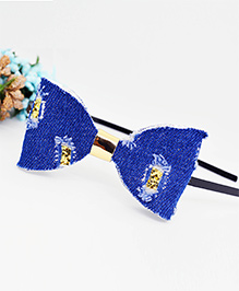 Little Tresses Rouged Denim Bow Hairband - Navy Blue