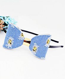 Little Tresses Rouged Denim Bow Hairband - Light Blue