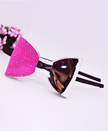 Little Tresses Partywear Dotted Bow Double Tone Hairband - Pink & Silver