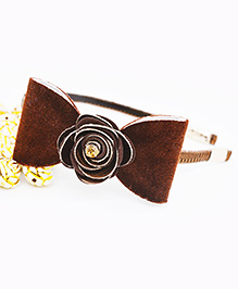 Little Tresses Shimmer Bow With Flower Center Hairband - Dark Brown