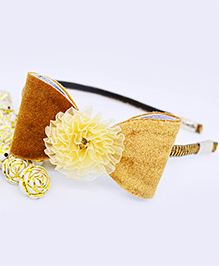 Little Tresses Shimmer Bow With Flower Center Hairband - Brown