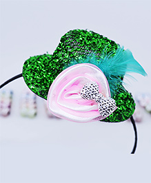 Little Tresses Partywear Hat With Feather Hairband - Green