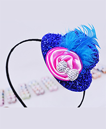 Little Tresses Partywear Hat With Feather Hairband - Navy Blue