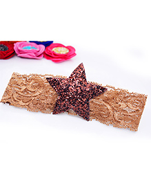 Little Tresses Glittery Star Lace Soft Stretchable Headband - Brown