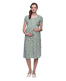 Mamma's Maternity Floral Printed Maternity Dress - Sea Green