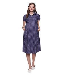Mamma's Maternity Trendy Printed Maternity Dress - Blue