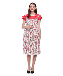 Mamma's Maternity Printed Maternity Dress - Peach