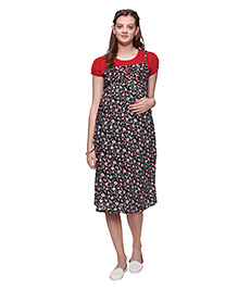 Mamma's Maternity Floral Printed Maternity Dress - Red