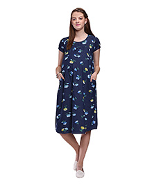 Mamma's Maternity Printed Maternity Dress - Dark Blue - 1815966