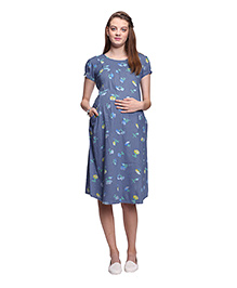 Mamma's Maternity Printed Maternity Dress - Light Blue - 1815970