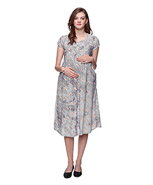 Mamma's Maternity Flowery Printed Maternity Dress - Grey
