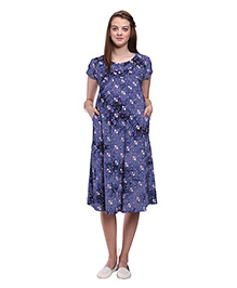 Mamma's Maternity Flowery Printed Maternity Dress - Blue