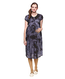 Mamma's Maternity Printed Maternity Dress - Dark Blue