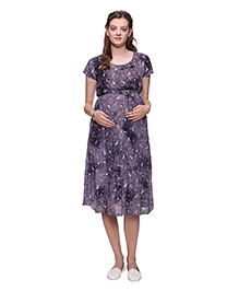 Mamma's Maternity Printed Short Sleeves Dress - Blue