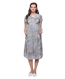Mamma's Maternity Floral Print Cotton Dress - Grey
