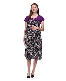 Mamma's Maternity Floral Print Rayon Dress - Purple