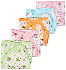 Babyhug Multi Colored Cloth Baby Diapers Size 0 - Set of 5