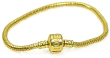 Angel Glitter - Smooth Woven Golden Tone Cylindrical Clasp Metal Bracelet