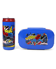 Marvel Spiderman Lunch Box With Bottle - Blue & Red