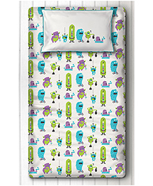 Silverlinen Single Bedsheet With One Pillow Cover Silly Monster Print - Green & Purple