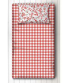 Silverlinen Single Bedsheet With One Pillow Cover Printed - Red