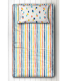 Silverlinen Single Bedsheet With One Pillow Cover Stripes Print - White Multi Color