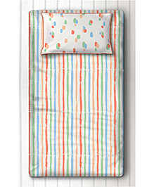 Silverlinen Single Bedsheet With One Pillow Cover Striped Print - Multi Color