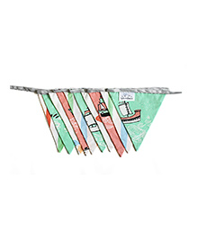 Silverlinen Cotton Bunting Ship Print - Green & Pink
