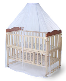 Mee Mee Wooden Baby Cot With Mosquito Net - Cream