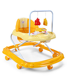 Baby Musical Walker With Play Tray - Orange & Light Yellow