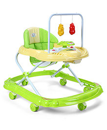 Baby Musical Walker With Play Tray - Green & Cream