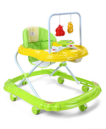 Baby Musical Walker With Play Tray - Green & Yellow