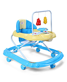 Baby Musical Walker With Play Tray - Blue & Cream