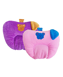 My Newborn Premium Quality Mustard Seed Neck Pillows Pack Of 2 - Pink Purple