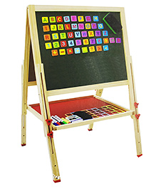 Emob Easel Lifting Big Size Wooden Dual Sided Magnetic Drawing Board - Green & Beige