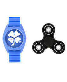 Fantasy World Floral Design Watch & Spinner Combo - Blue & Black - 1824919