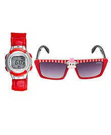 Fantasy World Watch & Sunglasses Combo - Red - 1824926