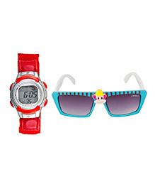 Fantasy World Watch & Sunglasses Combo - Red & Blue - 1824930
