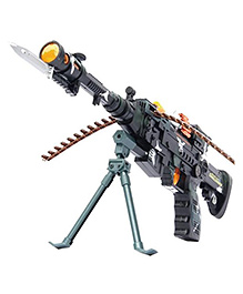 Toyshine Army Style Toy Gun With Light & Sound Black - Length 56 Cm