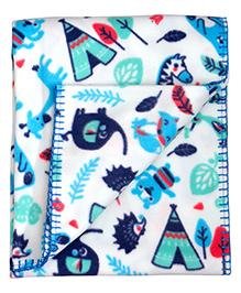 Mee Mee Multi Purpose Blanket With Animal Print - Blue