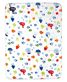 Mee Mee Multi Purpose Blanket With Marine Print - White Multicolour