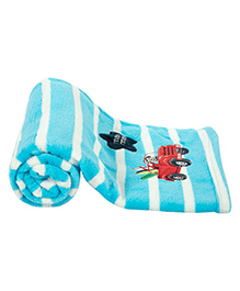 Mee Mee Multi Purpose Striped Blanket With Car Patch - Blue White